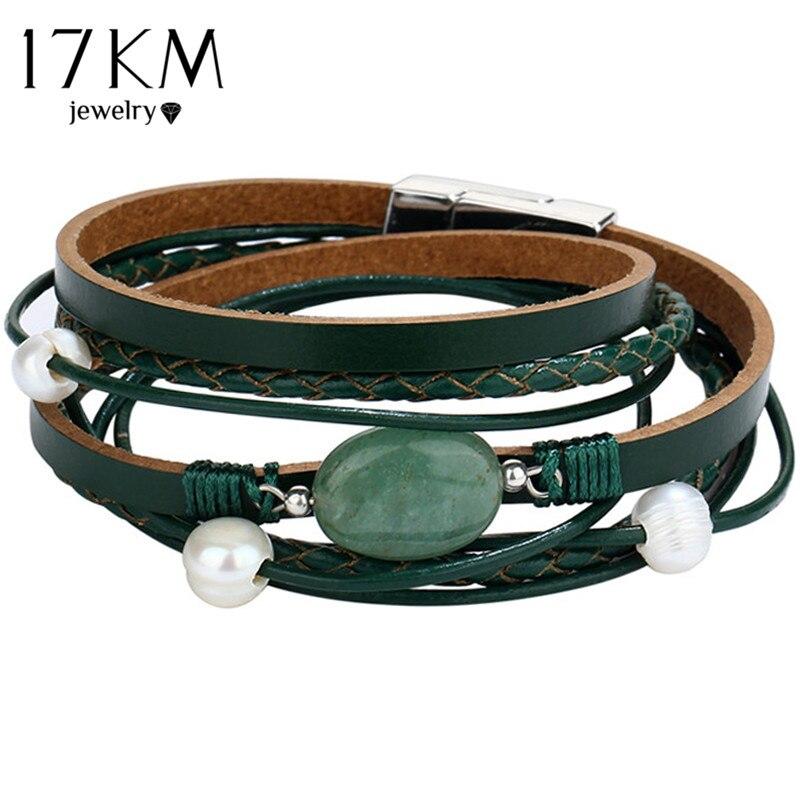 238b5ba36489 17 km piedra verde pulsera de cuero para hombres mujeres vintage múltiples  capas simulado perla acrílico Brazaletes de puño feminino joyería