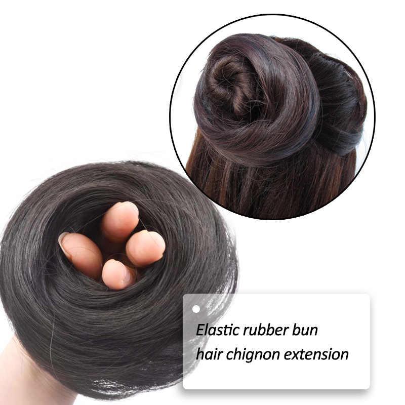 Jeedou pelo sintético Donut Chignon extensiones de cabello 30g moño almohadilla goma banda peluches Real Natural elegante