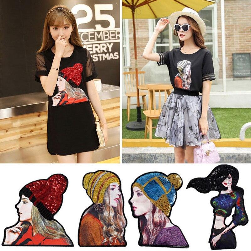 자수 철 패치 옷 긴 머리 아름다움 장식 조각 의류 DIY 주제 아플리케 무료 배송