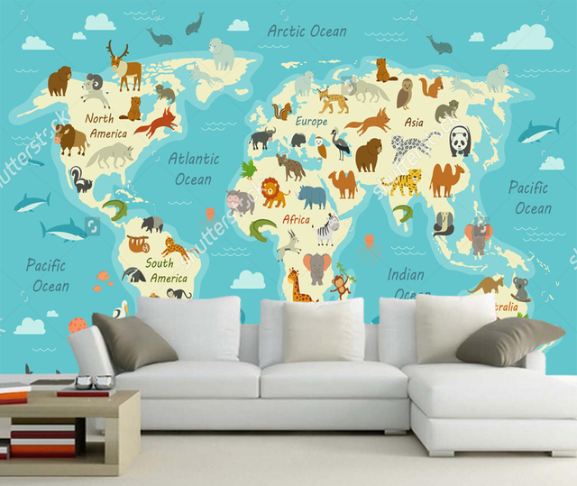 Childrens Wallpaper A World Map With Animals D Photo Mural For - World map for kids room