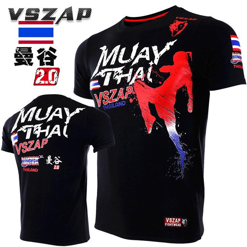 VSZAP MUAY THAI Fitness Workout Short Sleeve Men T-Shirt MMA Fighting Fight UFC Muay Thai Sanda Martial Arts Clothing