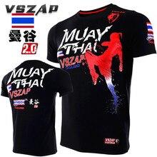 VSZAP MUAY THAI Fitness Workout Short Sleeve Men T-Shirt MMA Fighting Fight UFC Muay Thai Sanda Martial Arts Clothing vszap men s hoodie jacket long sleeve zip hooded sweatshirt mma muay thai long sleeved sportwear