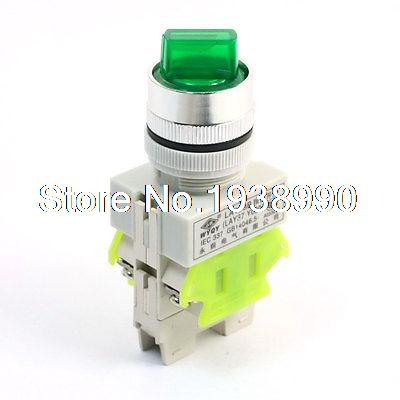 660V 10A 3 Selector Position Green Light Self Locking 1NO+1NC DPST Rotary Switch 660v ui 10a ith 8 terminals rotary cam universal changeover combination switch
