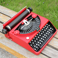 Shabby Chic Craft Intelligence Black And Red Tin Typewriter Vintage Style Metal Typewriter Model Home Decoration Collectible