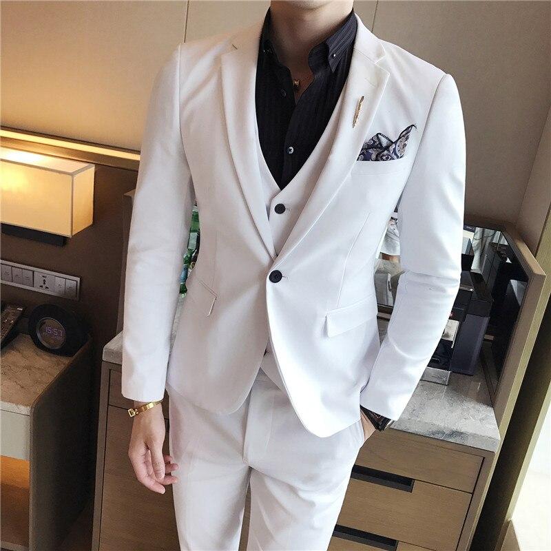 (Kurtka + kamizelka + spodnie) mężczyzna garnitur jednolity kolor męskie klasyczne garnitury czerwony Prom garnitur czarny biały niebieski Slim pana młodego suknia ślubna w Garnitury od Odzież męska na  Grupa 3