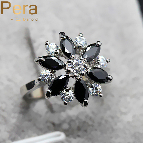 Romantic Women Engagement Jewelry Rarely Mystic Black And White Cubic Zirconia Stone Fashion Finger Ring For Ladies R005