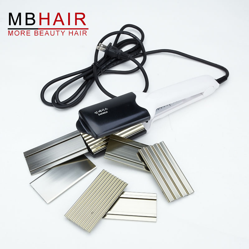 Professional Hot Selling Titanium alloy Hair curler, corrugated iron curling iron Fast hair straightener White Free Shipping