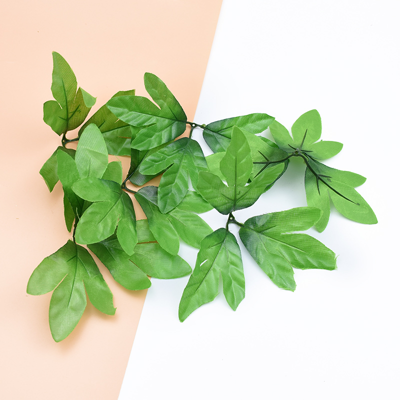 10pcs Silk Rose Leaves Fake Strawberry Leaf Home Decor For Scrapbooking Decorative Flowers Wreaths Diy Gifts Artificial Plants