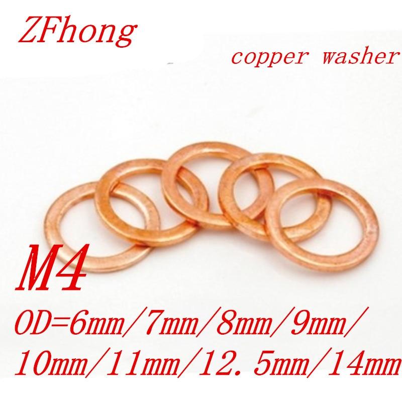 100Pcs 6mm x 10mm x 1mm Copper Flat Washer for Screw Bolt