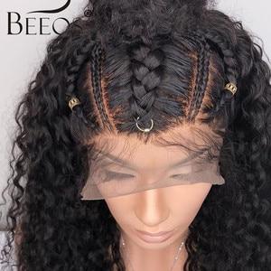 Image 2 - Beeos brasileiro remy encaracolado 13*4 frente do laço perucas de cabelo humano descorado nós profunda peruca de separação pré arrancado com o cabelo do bebê para as mulheres