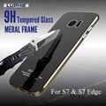 Luphie S7 и S7 Край Case Алюминиевый Металлический Каркас + 9 H закаленное Стекло Задняя Крышка Case Для Samsung Galaxy S7edge Мобильного Телефона случаях