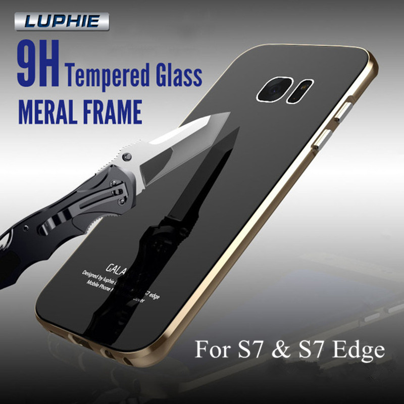 Luphie S7 S7 Edge Case Aluminum Metal Frame 9H Tempered Glass Back Cover Case For Samsung
