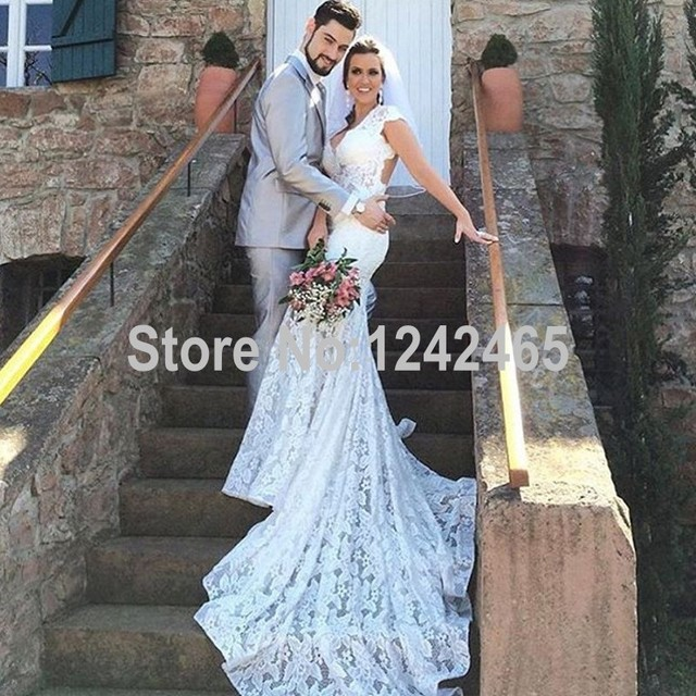 3febba1f14a87 Mermaid V Neck Lace Backless Wedding Dresses Sexy Long Cap Sleeve Rustic Wedding  Gowns With Keyhole Back MC223