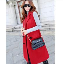 2016 new autumn and winter in Europe and America Slim Korean double-breasted Woolen vest and long windbreaker jacket w792