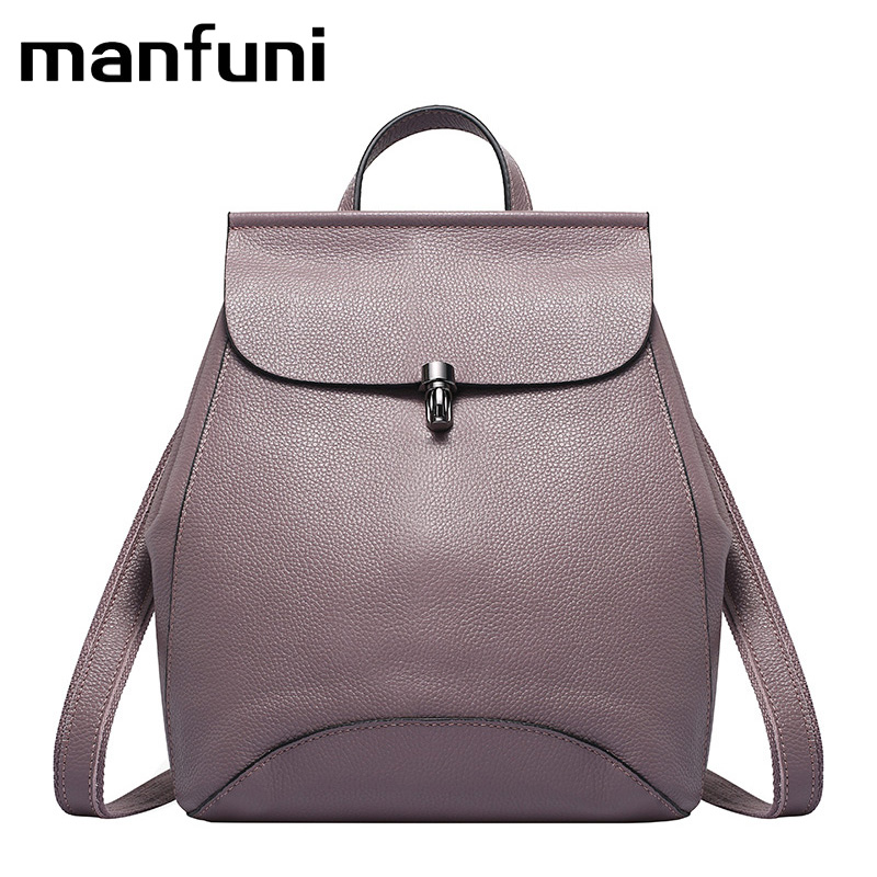 MANFUNI Quality Genuine Leather Women Backpacks Anti Theft Rucksack Ladies Travel Bags Female Casual Tote Luxury Shoulder Bags women bags backpacks europe style double shoulder bags for ladies high quality artificial leather bags luxury students backpacks