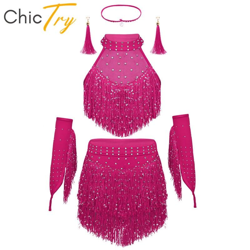 ChicTry Kids Teens Shiny Sequins Tassel Latin Dance Dress Set Girls Rumba Samba Salsa Ballroom Stage Performance Dance Costumes