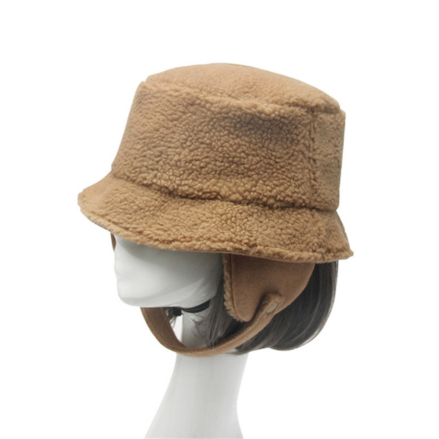 Winter Bucket Hat Women Men cap high quality pashm cold-proof earmuffs hat  keep warm flat cap male Bone Pure Color Fisherman Hat bd1f92dc47d