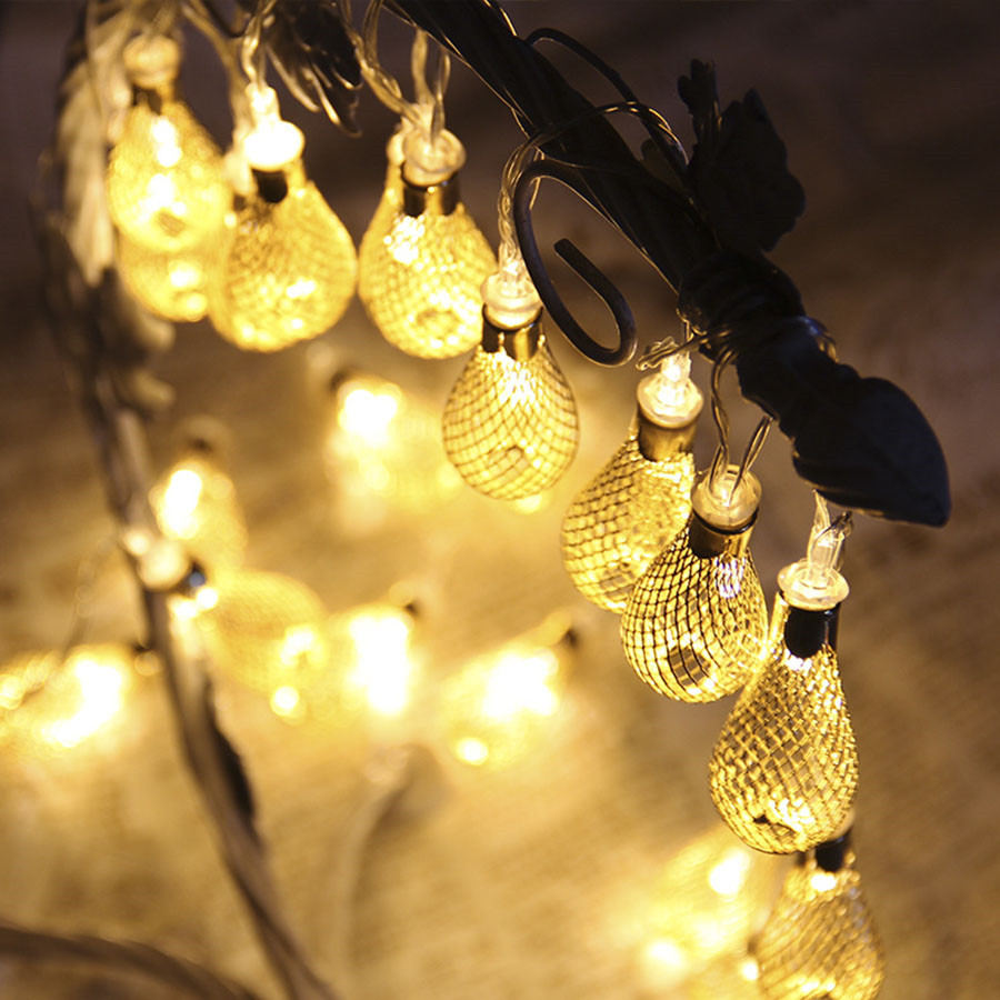 Image 3 - 4M LED Garland Light 20pcs Metal Drop Fairy String Light Christmas Decoration 8 Modes 220V Outdoor Patio Wedding Party Light-in LED String from Lights & Lighting on