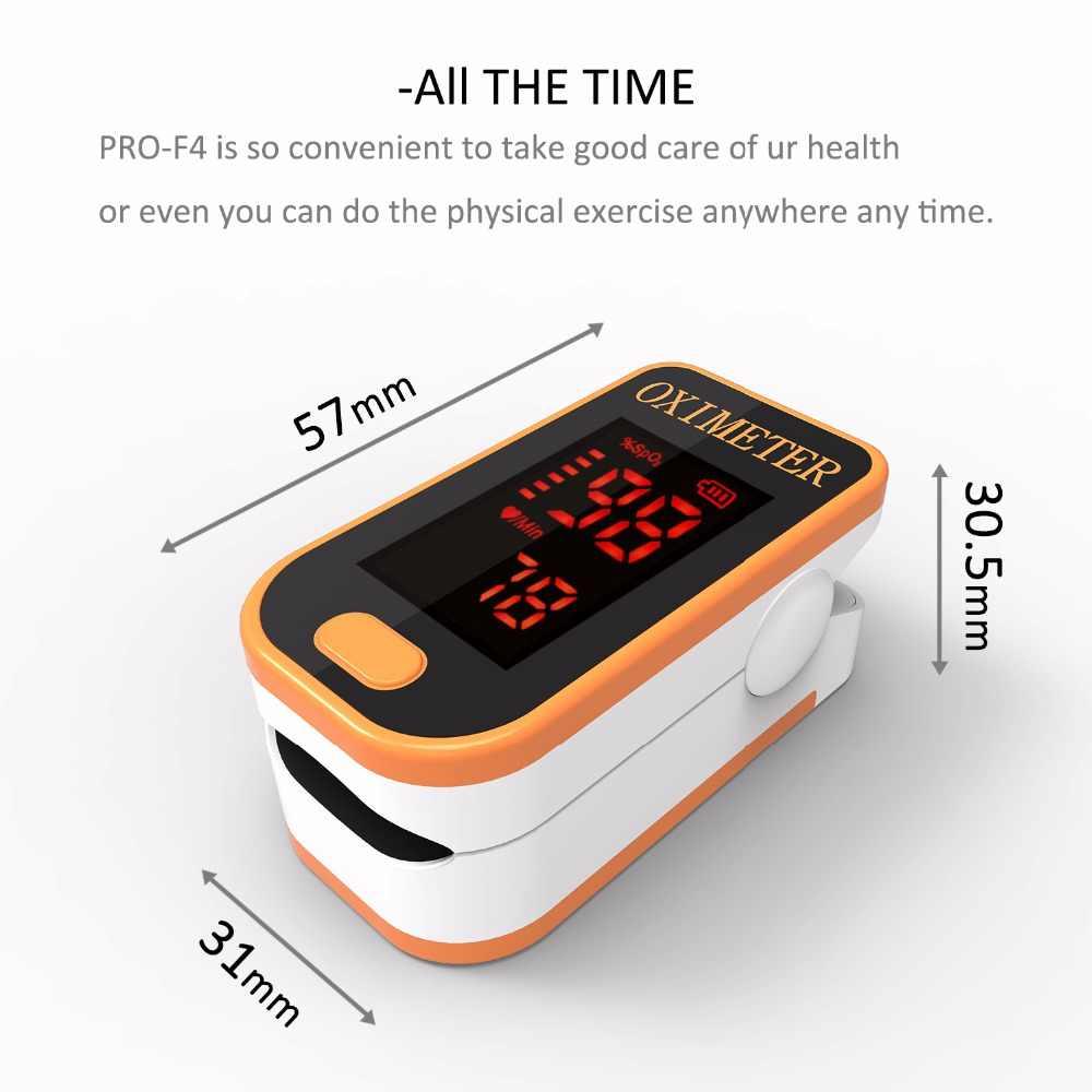 PRO-F4 Vinger Pulsoxymeter, monitoring Gezondheid Apparaat Voor Medische En Dagelijks Sport SPO2 Hartslagmeter Ce Goedkeuring-Geel