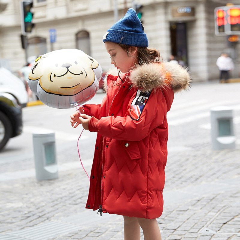 2018 Thick Warm Fur Hooded Girls Winter Coat Zipper Solid Slim Child Winter Jacket For Girls Baby Kids Cotton Parka Down real fox fur warm hooded padded jacket women solid color casual manteau femme hiver medium long parka slim coat cotton tt3461