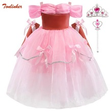Girls Kids Sleeping Beauty Princess Aurora Dress up Party Costume With Gloves Layers Cosplay Long Dress Halloween Birthday Gift brand girl dress sleeping beauty aurora princess for kids girls party dress halloween girls cosplay costume children clothing