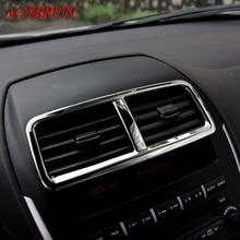 Из нержавеющей стали Автомобильный Центр кондиционер крышку Стикеры S автомобильные аксессуары 3D Стикеры для Mitsubishi ASX 2010 2011 2012 2013