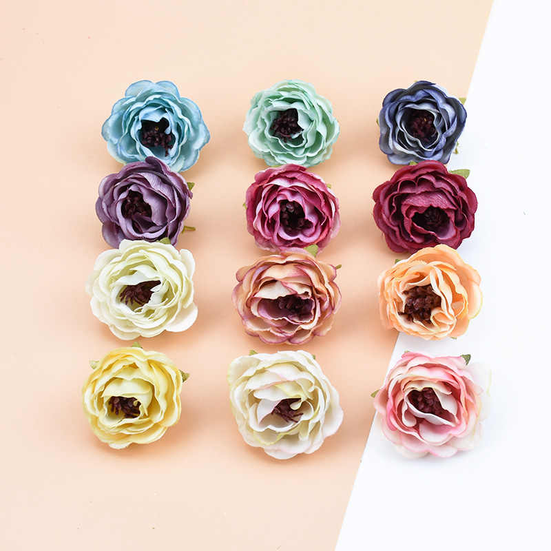1/5/10pcs Fake stamen pompom decorative flowers wreaths diy gifts box artificial plants bride brooch home decor silk roses heads