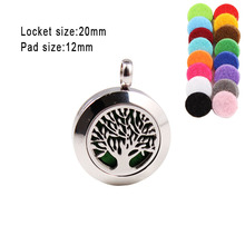 With chain as gift!tree of life Thread 20mm Perfume Lockets  Stainless Steel Locket Diffuser Pendant (Free Pads)
