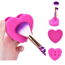 2 in 1 brush cleaner and holder Brush Makeup Wash Silica Glove Scrubber Brush Cosmetic Cleaning pad Beauty Makeup Brushes New