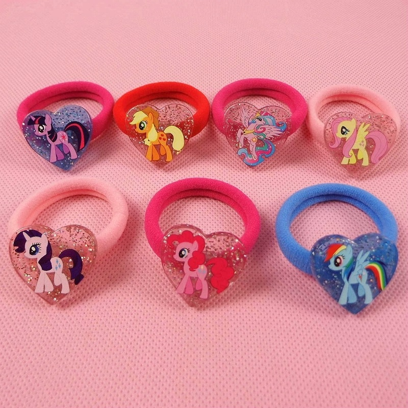 Fashion 7pcs/lot My Cute little Unicorn Poni   Headwear   Elastic Hair Bands Cartoon Kids Accessories