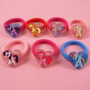 Fashion 7pcs/lot My Cute little Unicorn Poni Headwear Elastic Hair Bands Cartoon Kids Accessories
