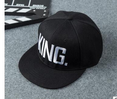 1pcs/lot Free Shipping King Queen Embroidery Snapback Hat Men Women Couple Baseball Cap Gifts Fashion Hip-hop Caps