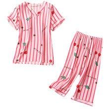 Для женщин с модным принтом пижамы с принтом пижамы комплект из 2 предметов ночное летний комплект шифоновое платье комплект 40al30