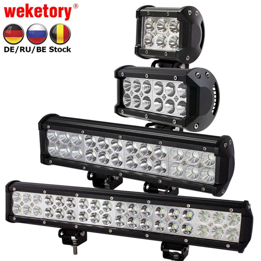 weketory 4 7 12 17 inch 18W 36W 72W 108W LED Work Light LED Bar Light for Motorcycle Tractor Boat Off Road 4WD 4x4 Truck SUV ATV стоимость
