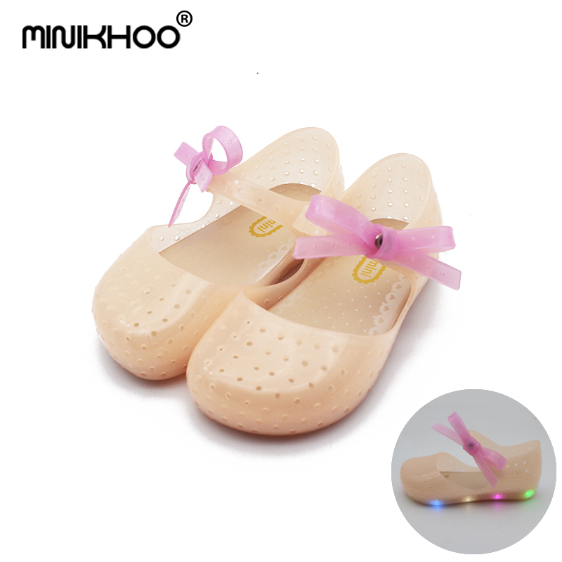 Mini Melissa (With LED) 2018 Jelly Sandals Flash Lights LED Girl Shoes Bow Princess Shoes Butterfly Girl Shoes Melissa Sandals