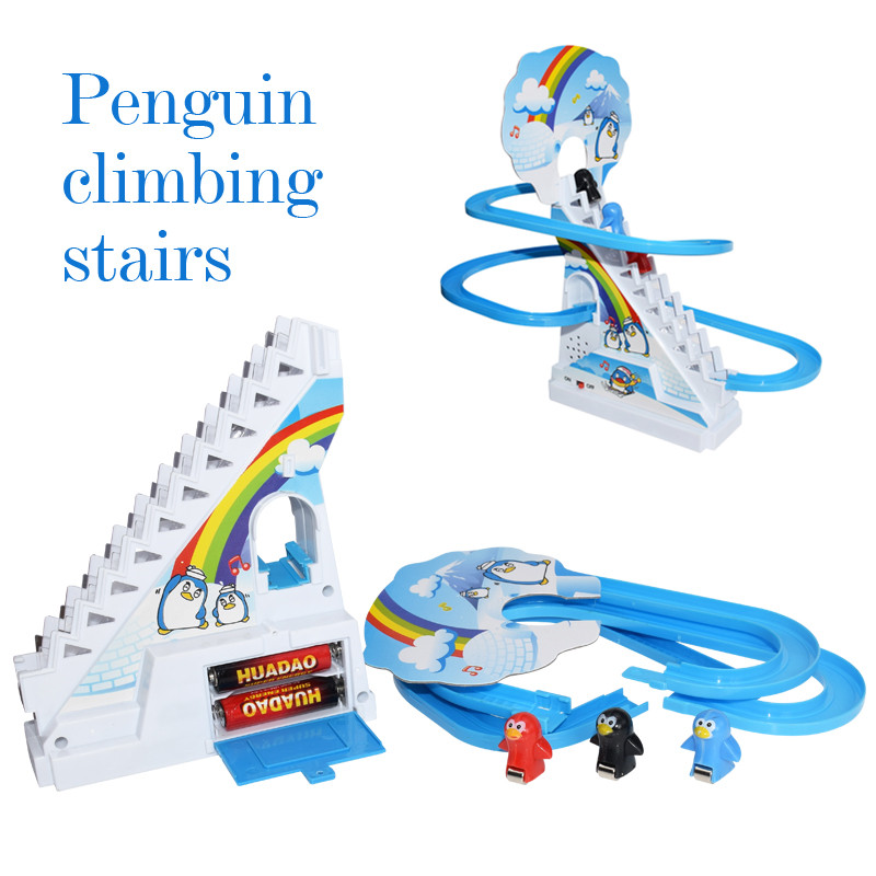 Penguin Climb Stairs Track Toys Classic Electric Music Cartoon Track Toys Funny Birthday Gift Toys For Children