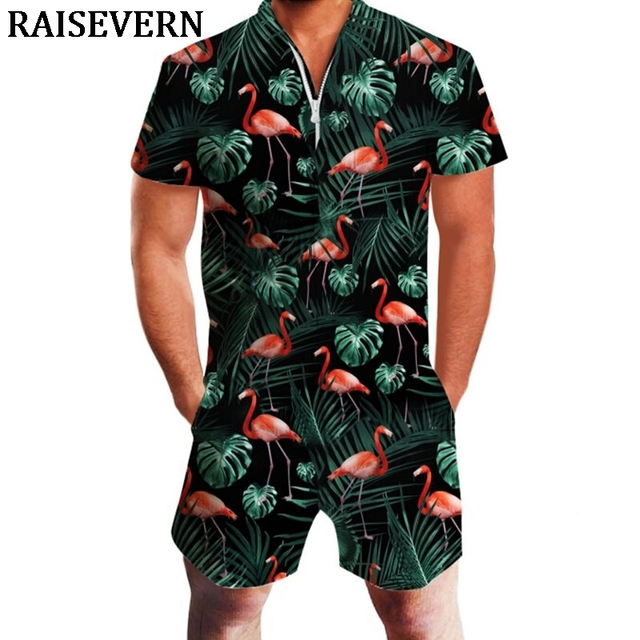 466584948e3 Flamingos Floral Men Rompers 3D Jumpsuit Playsuit Harajuku Harem Cargo  Overalls Summer Men Sets Jumpsuit Hawaiian Men Shorts