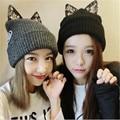De invierno-Otoño Las Mujeres Lindas del Gato Sombrero Con Orejas de Gato Gorros de Punto Tapa de Protección Del Oído sombreros Para Mujer de Piel de Las Señoras Mujer Skullies Sombrero