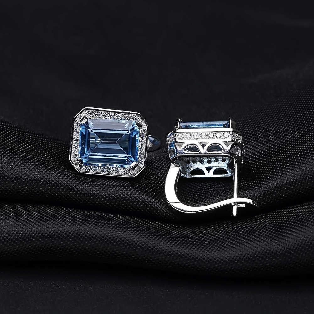 Gem's Ballet 925 Sterling Silver Earrings 8 46Ct Octagon Natural Swiss Blue  Topaz Gemstone Clip Earrings for Women Fine Jewelry