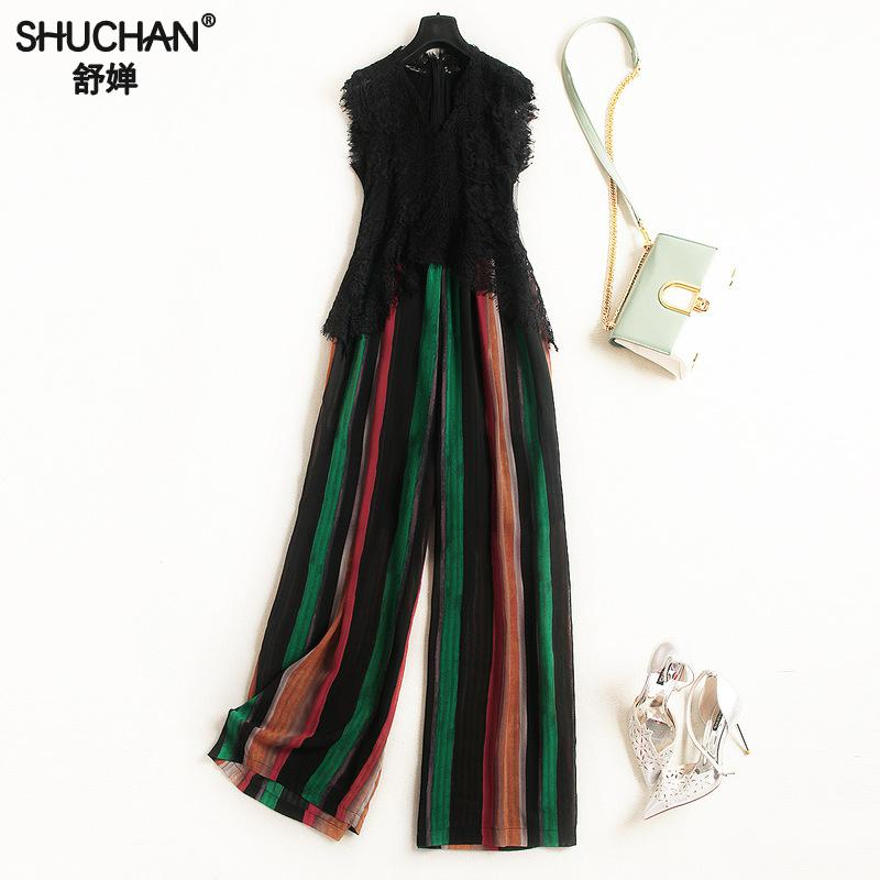 Shuchan Lace Patchwork Polyester Striped Office Lady Jumpsuits Rompers Womens Jumpsuit 2018 Sleeveless Summer Womens Clothing