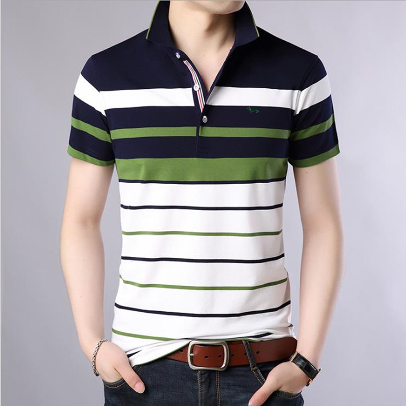 2018 New Men summer casual shirt slim fit short sleeve 100%cotton breathable soft business striped embroidery shirts Po11 1