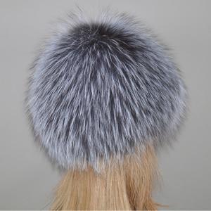 Image 3 - 2020 New Luxury 100% Natural Real Fox Fur Hat Women Winter Knitted Real Fox Fur Bomber Cap Girls Warm Soft Fox Fur Beanies Hats