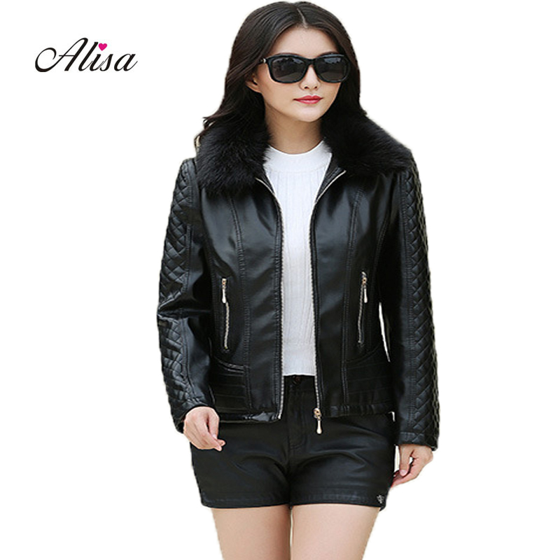 2018 New Winter Female 6xl Big Size   Leather   Jacket Faux Fur Collar Long Sleeve Keep Warm Coat Pu Women Solid Casual Black Jacket
