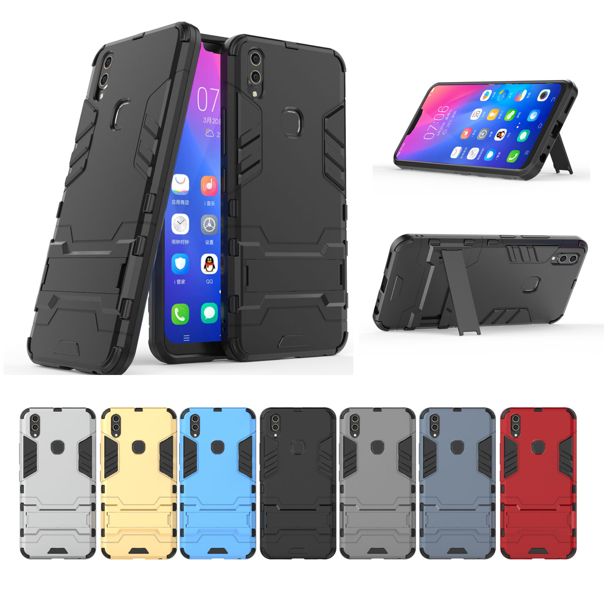 Cool Robot Case BBK Vivo V9 Cover Shockproof Strong Armor Phone Cover For Vivo V9 Youth Case PC Silicone Case For Vivo Y85 Shell