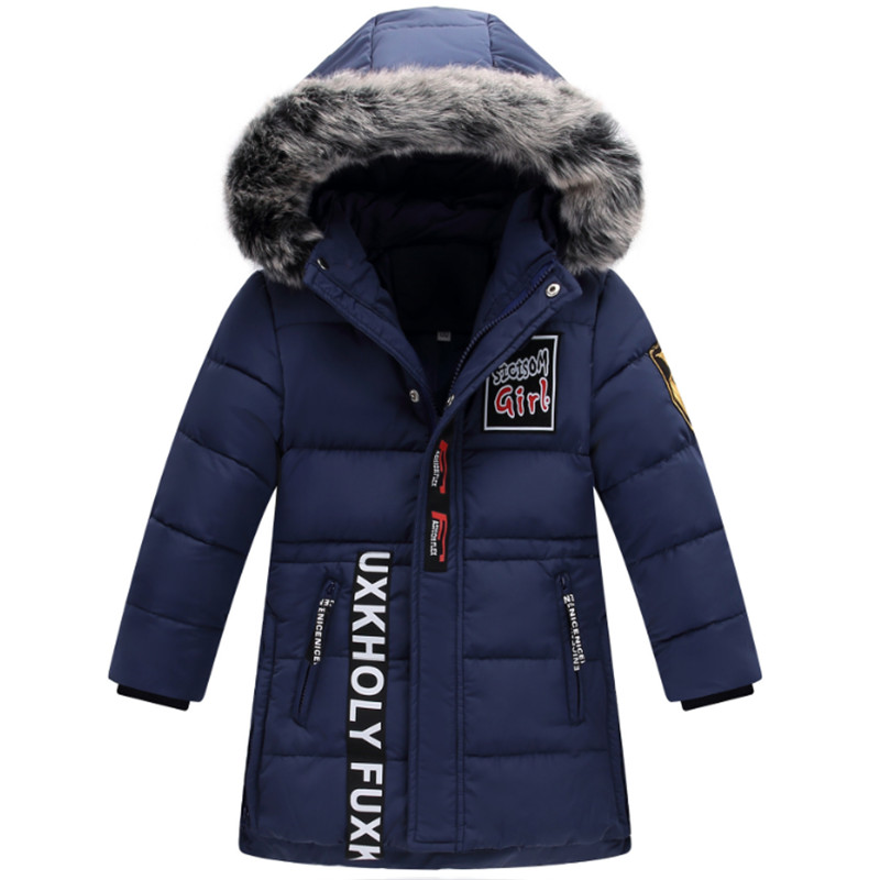 130-160 Down Jacket For Boys Winter Coat 2017 New Fashion Hooded Big Fur Collar Letters Long Outwear Topcoat High Quality 2017korean style new women winter coat hooded fur collar big yards leisure women coat high quality cotton warm down jacket g2271