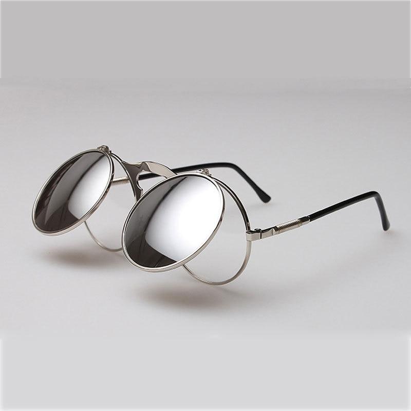 Steampunk Gafas redondo retro Gafas de Sol Espejo lente metal aleación  Marcos con él 2ba88b5392