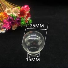 10pcs 25*15mm Clear Mini round Globe Glass wish Bottle Necklace vial Pendant Locket Ball diy Jewelry accessory Finding container