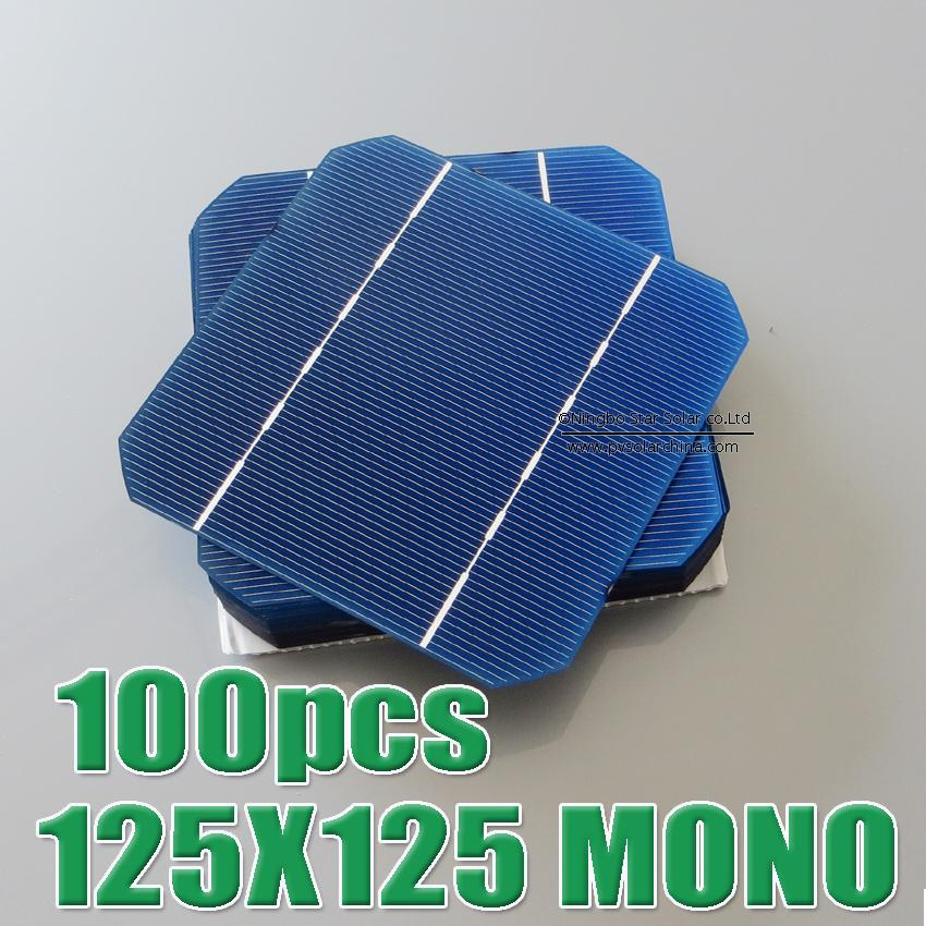 Hot Sale 100pcs 2.7W - 2.75W 17% - 17.2% efficiency 125 Mono monocrystalline Solar Cell 5x5 for Diy Solar Panels WY
