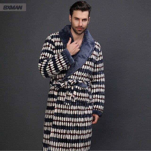 2016 классический плед фланель v-образным вырезом халат мужчины халат с длинными рукавами плюс толстый бархат пижамы размер L-XXL