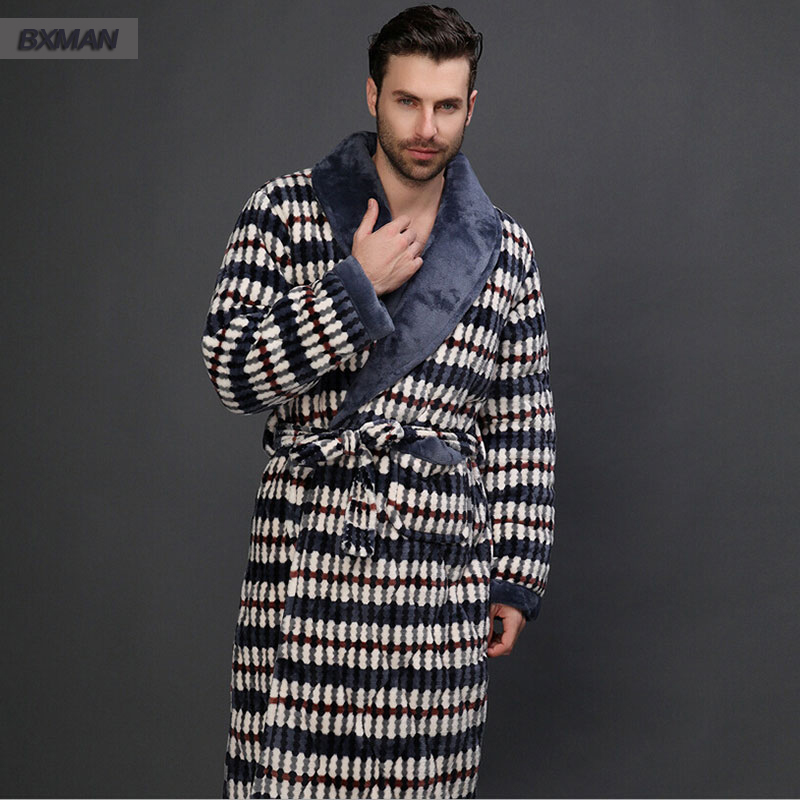 2016 Classic Plaid Flannel V Neck Bathrobe Men Robe Long sleeve Plus Thick Velvet Sleepwear Size